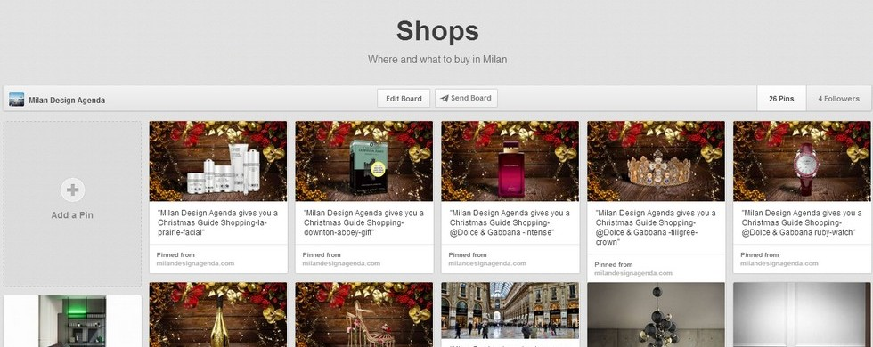 """Milan Design Agenda, The Best of Shops 2013-Pinterest Board"" MILAN DESIGN AGENDA, BEST OF SHOPS 2013: PINTEREST BOARD MILAN DESIGN AGENDA, BEST OF SHOPS 2013: PINTEREST BOARD Milan Design Agenda The Best of Shops 2013 Pinterest Board 980x390"