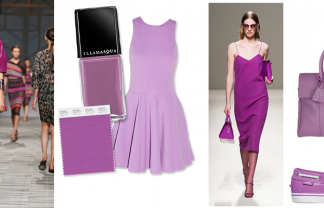 """Milan Fashion Trend 2014 Pantone's Radiant Orchid-Pinterest Moodboard Cover"""