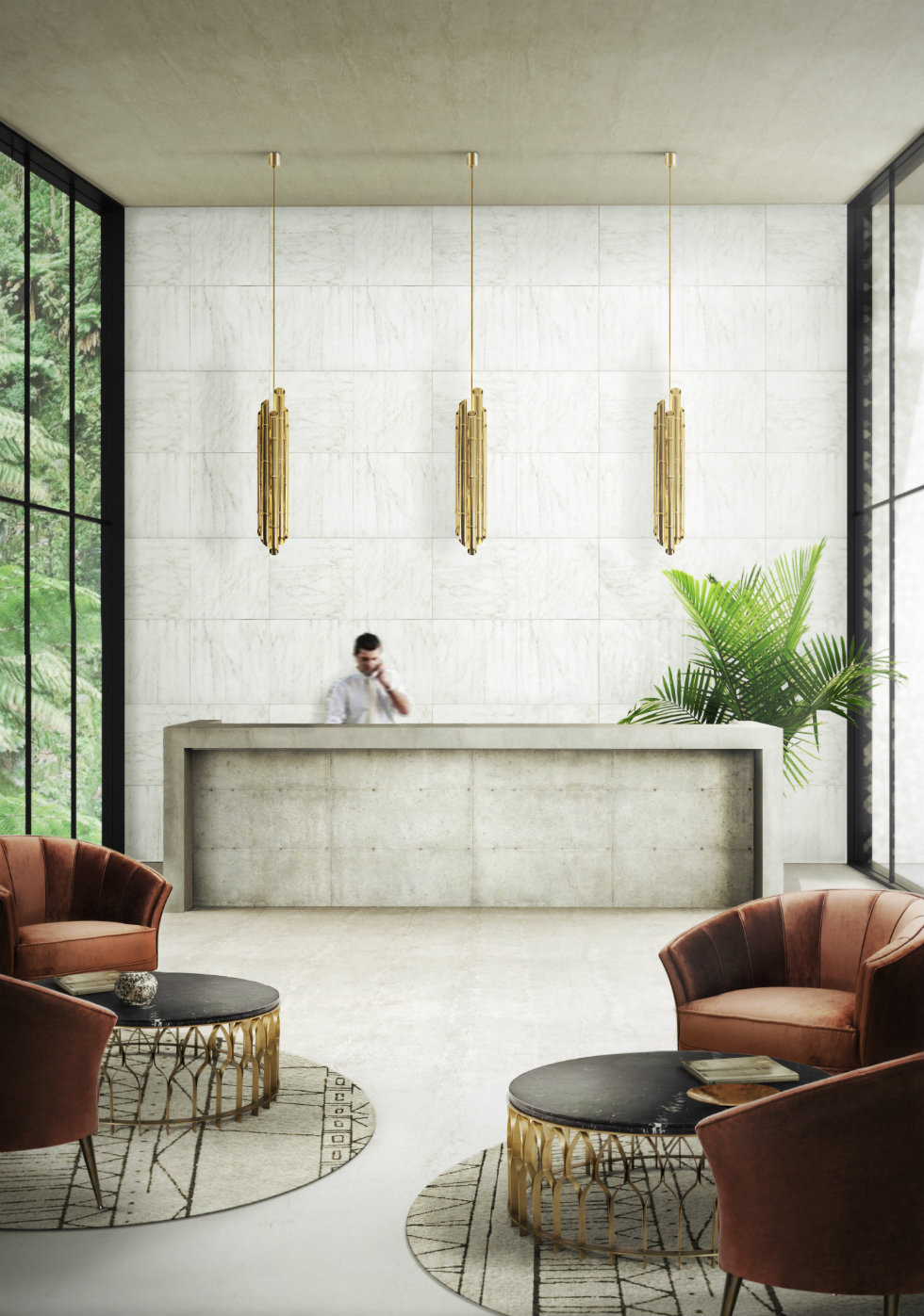 hotel lobby decorating idea lighting design ideas World's best lighting design ideas arrives at Milan's modern hotels Worlds best lighting design ideas arrives at Milans modern hotels BRABBU SAKI pendant