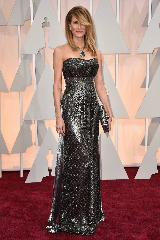 Laura Dern wearing Alberta Ferretti at Oscars 2015 Red carpet-Alberta Ferretti Milan Fashion Week 2015