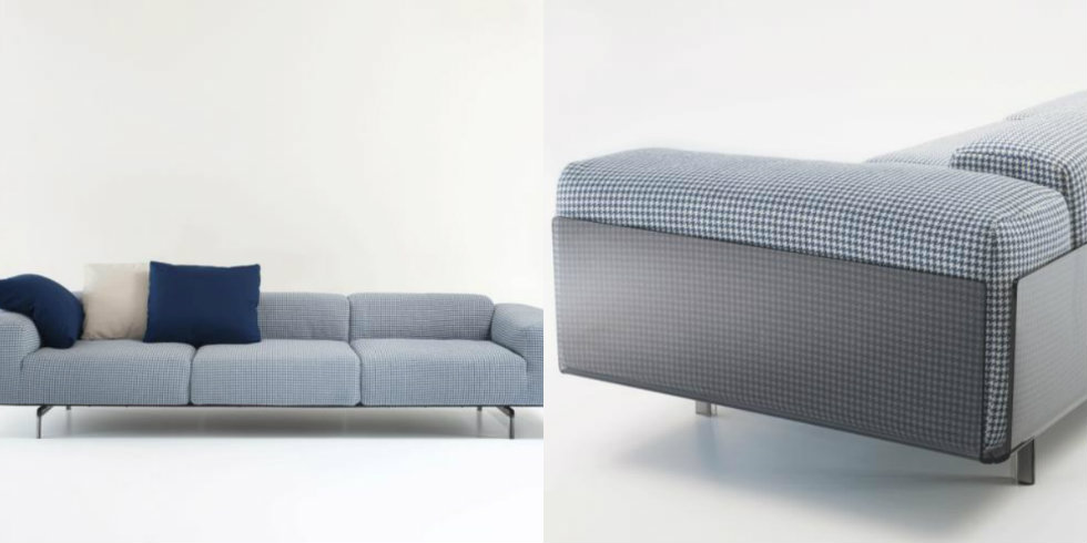 Large, large three-seater sofa by piero lissoni for kartell, marked by a polycarbonate structure that welcomes comfortable cushions