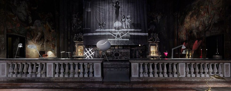 Ingo Maurer lighting exhibiton in a Milan former church
