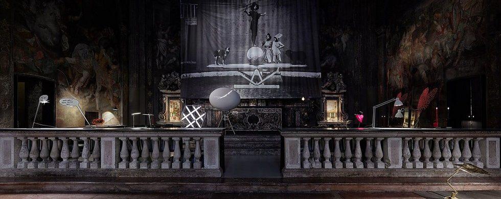 Ingo Maurer lighting exhibiton in a Milan former church